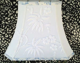 """White Embroidery Lamp Shade, Rectangle Lampshade in Vintage Linen Fabric, 7""""t x 12""""b x 9.5"""" high, Designer Look, Amazing Thick Embroidery!"""