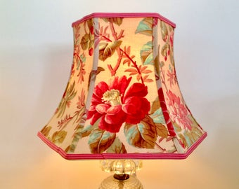 "French Floral Lamp Shade, Tulip Lampshade with a touch of Turquoise, 1920's Vintage Fabric, Hex Bell 7""t x 12""b x 8.5""h, Shabby Chic Pretty!"