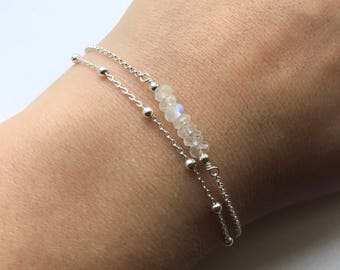 Rainbow Moonstone Double Chain Sterling Silver Bracelet - Rainbow Moonstone, Satellite chain bracelet