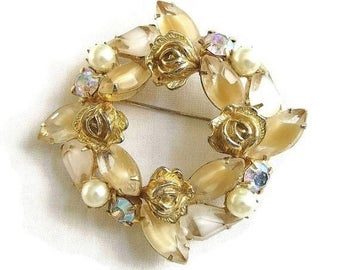 Weiss signed Wreath Brooch Givre Glass Rhinestones, Aurora Borealis & Faux Pearls With Roses Vintage