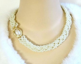 Braided White Pearls Necklace with Rhinestone Clasp Vintage Choker