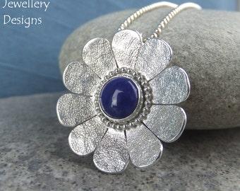 Lapis Lazuli Textured Daisy Sterling Silver Pendant - Gemstone Flower - Handmade Metalwork Wirework - Garden Floral Petals