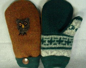 Felted Mittens,wool mittens,Upcycled mittens,Fleece Lined, MEDIUM