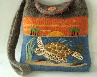Felted Purse, Felted Handbag, Sea Turtle Art, Turtle Art, Needle Felt Turtle