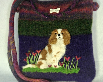Cavalier Dog,Felted Purse, Felted Handbag, Cavalier King Charles Spaniel, Needle Felt Dog, Custom Pet, Fiber Art