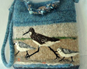 Felted Purse, Felted Handbag, Bird Art, Sandpiper Bird, Ocean Scene, Needle Felt Bird, Fiber Art, Wool Purse,