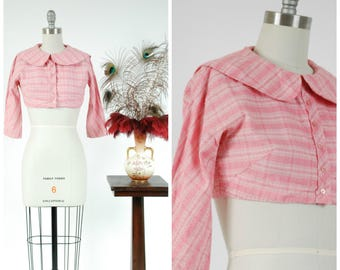 Vintage 1950s Bolero - Crisp Multicolored Pink Nubby Cotton Pique Cropped Summer Bolero Style Blouse