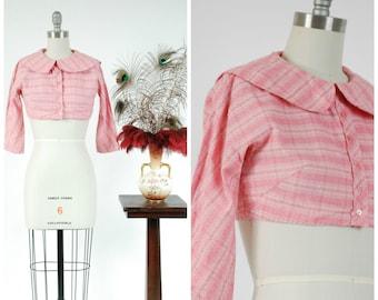 Vintage 1950s Bolero - Crisp Multicolored Pink Nubby Cotton Pique Cropped Summer Bolero Style Blouse