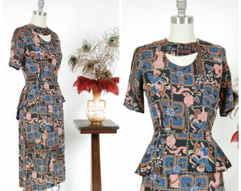 1940s Vintage Dress - Rare 40s Novelty Print Rayon Dress in Bold Arabian Nights Theme with Peplum in Black, Brown, Royal Blue and True Pink