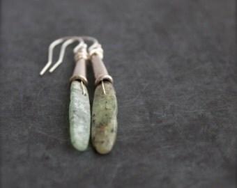 ON SALE Mint Green Kyanite Stone Stick Dangle Drop Earrings Boho Sterling Silver Jewelry