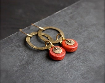 ON SALE Red Coral, Brass Dangle Hoop Earrings - Gold Brown Oxidized Metalwork Boho Jewellery