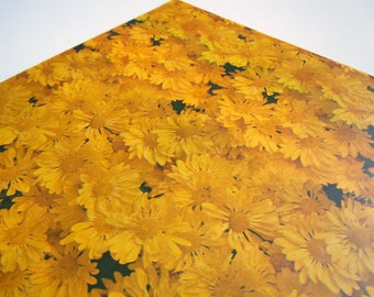 1975 All Any Occasions Wrapping Paper | Yellow Gift Wrap Paper | Gold Daisies Flower Power Wrapping Paper