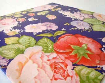 Vintage 1980 All Occasion Wrapping Paper Navy Blue Pink Floral Gift Wrap