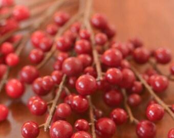 """Artificial Berries, 7"""" berry spray, Christmas berries, holiday berries, holiday berry, berries for wreaths, red berries, burgundy berries,"""