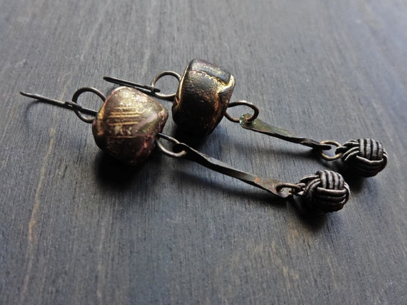 Earthen. Brown handmade earrings with polymer art beads