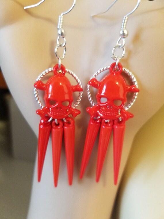 RED SKULL chandelier earrings skeleton earrings Day Of the dead punk earrings jewelry drop dangles skeleton jewelry goth dia de los muertos