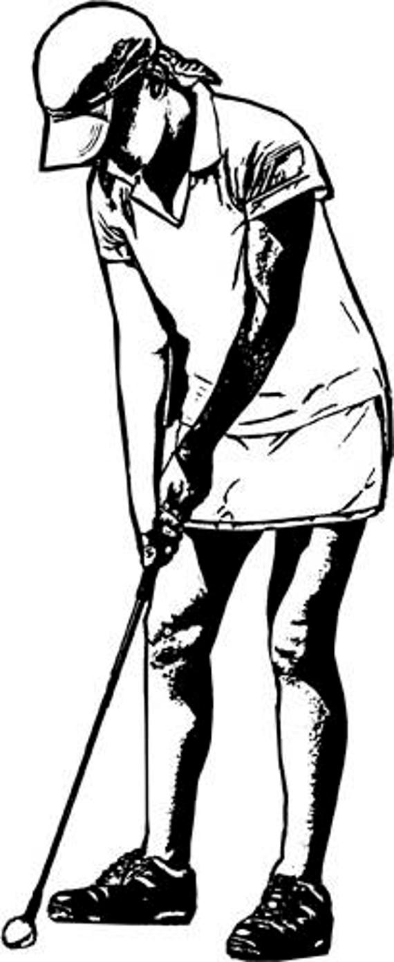 woman playing golf game sports wall art printables digital image download graphics digital stamp black and white clipart png