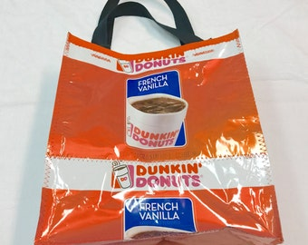 Handmade Purse Made with Dunkin Donuts Coffee bags upcycled repurposed