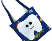 Tooth fairy pillow boys tooth pocket, race cars chevrons, felt tooth embroidered mouth lost tooth bag handmade pouch boys party favors gift