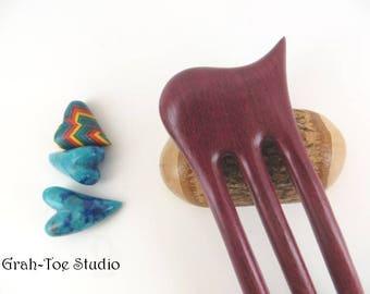 Hairfork Wave 3 Prong, Purple Heart Wood Hairforks ,Handmade Grahtoestudio,Man Bun,Gift for Her, Hair Fork, Hair Pick, Hair Stick,Hairsticks