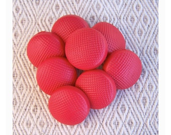 Red Shank Buttons, 15mm 5/8 inch - Bright Matte Red Pebbled Sewing Buttons - 8 VTG NOS Retro Mod Red Plastic Shank Buttons PL330