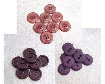 Purple Sew Through Buttons, 3/4 inch - VTG Purple Sewing Buttons - CHOOSE Midnight Plum PL595, Marbled Mauve PL596, Matte Royal Purple PL597