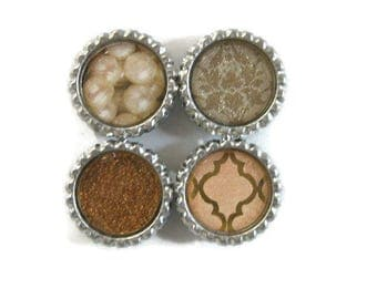 Feminine Themed Bottle Cap Magnets Set of 4