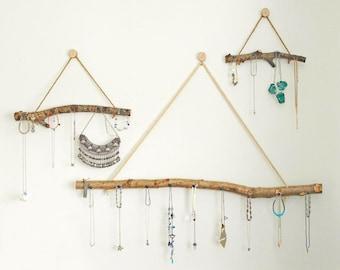 Boho Wall Hanging Jewellery Display Organiser Storage  Natural Branch Set of 3