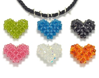 Tutorial Bead Jewelry Making PDF Pattern, Puffy Heart Beaded Pendant