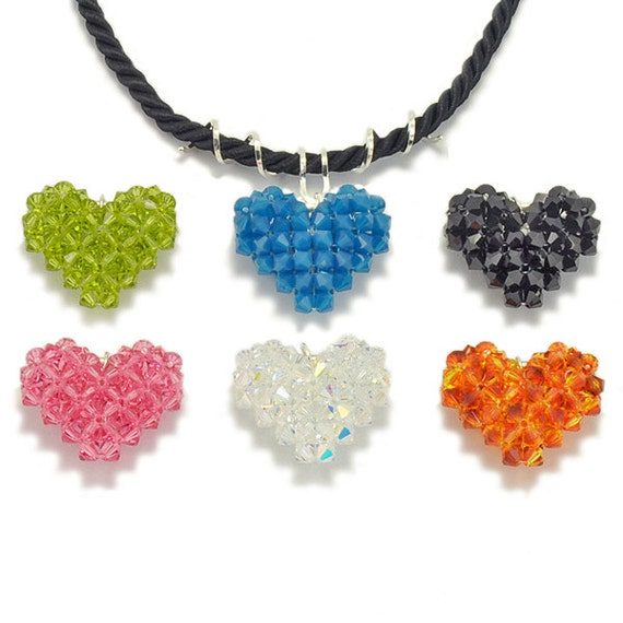 Tutorial Bead Jewelry Making PDF Pattern, Puffy Heart Beaded Pendant