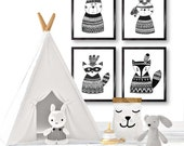 Tribal Animals wall art/ Monochrome nursery/ kids black and white decor/ black and white woodland animals/ nursery decor