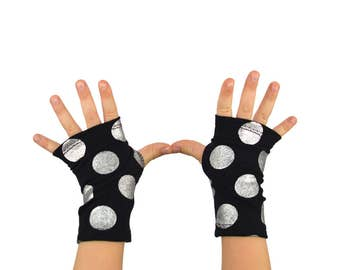 Toddler Kids Arm Warmers in Black and Silver Polkadots - Silver Little Bombs - Fingerless Gloves