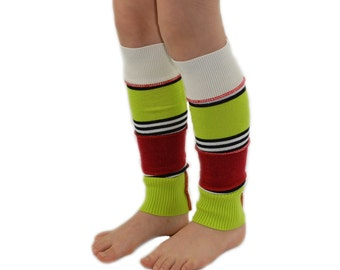 RESERVED LISTING Leg Warmers for Kids in Holiday Elf - Red White Lime and Black Stripes - Recycled Sweaters - Eco Friendly