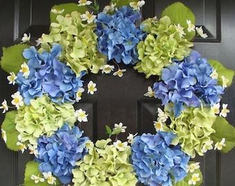 SPRING WREATH SALE Spring Wreath- Blue Hydrangea Wreath- Summer Wreaths- Summer Wreath for Door