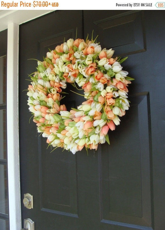 SPRING WREATH SALE Custom Tulip Spring Wreath- Spring Decor- Spring Tulip Wreath, Custom Sizes- Summer Wreath- The Original Tulip Wreath