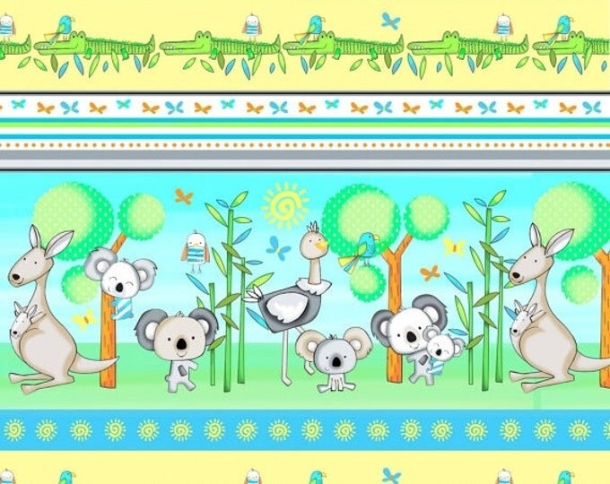 On Sale Koala Party Fabric, Koala Bears, Stripe Fabric, Kangaroos, Crocodiles by Studio E