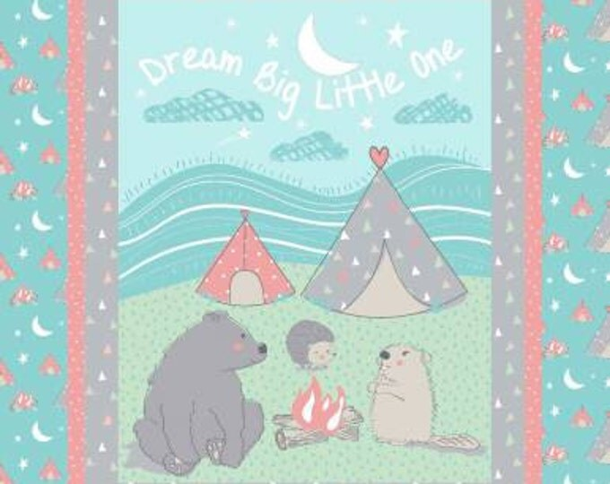 Children's Fabric, Camp Wee One Fabric Panel 36 x 44 cotton fabric