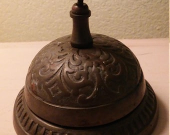 Vintage Ornate Brass Bell/Desk Bell/Counter Bell/Hotel Bell/