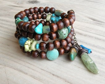 Wood Bracelet Stack - Boho Wrap Bracelet, Memory Wire Coil Bracelet, Olive and Turquoise Accents, Dark Brown