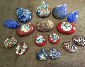 Vintage Glass Opal Cabochons Large Lot Northern Lights Assortment