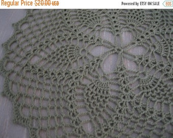 holiday sale Frosty green, hand made, crochet doily, pineapple designed, ready to ship