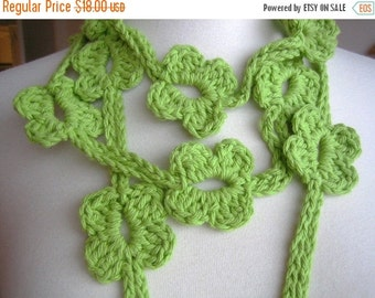 holiday sale Accessory, Lariat, scarf, new, hand crocheted, green, cotton