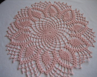 New, crochet, French pink, pineapple gift doily, made by Demet, ready!