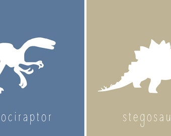 Printable Dinosaur Wall Art for Kids Room or Nursery, Set of 2 Prints