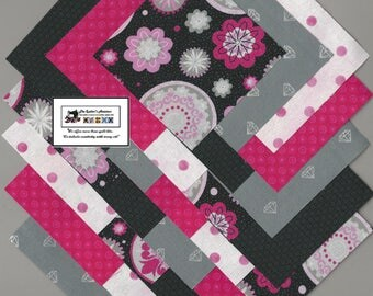 "40~4"" Pink & Gray Medallions and Dots Fabric Squares/Quilt/Craft/Sewing/Charm Packs #0903"