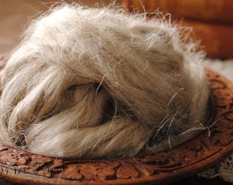 LINEN FLAX Fiber Ubleched Undyed Combed Top for Felting or Spinning Cellulose Vegan Plant Fiber - 4 oz