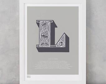 Illustrated Letter L, Illustrated Letter L, Letter L, Illustrated Alphabet, Illustrated L, Illustrated Alphabet Wall Poster