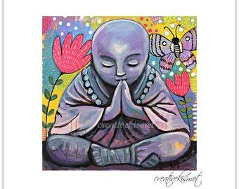 SALE - Little Praying Buddha - 8 x 8 Art Print by Regina Lord