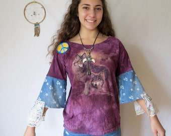 Tie Dye Purple Native Wolf Print Floral Ruffle Eco Friendly Upcycled Peace Sign Tshirt Tee Top Shirt Womens One Size