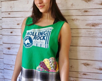 Rolling Rock Beer Patchwork Plaid Layering Tank Top One Size Small Medium Large